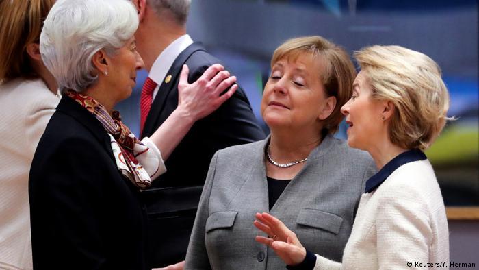 Brüssel EU Gipfel Angela Merkel mit Christine Lagarde und Ursula von der Leyen