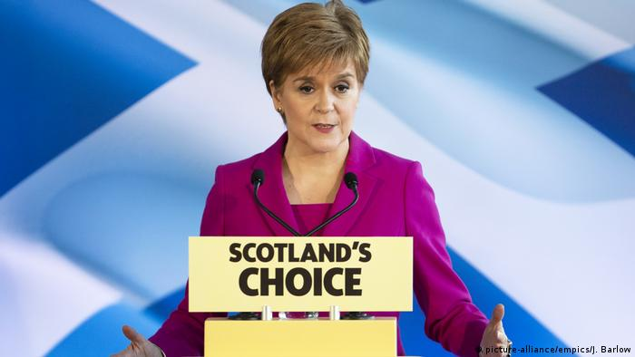 First Minister Nicola Sturgeon delivers a speech to the media