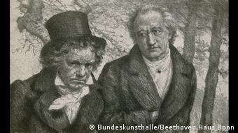 Бетховен и Гёте. Гравюра с выставки Beethoven. Welt.Bürger.Musik