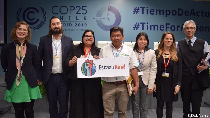 José Luis Samaniego, director de Desarrollo Sostenible y Asentamientos Humanos de la CEPAL (a la izquierda) junto a los panelistas del último evento de la COP25 sobre el 'Acuerdo de Escazú'.