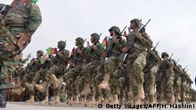 28.02.2019 *** Afghan National Army (ANA) soldiers march during a ceremony in a military base in the Guzara district of Herat province on February 28, 2019. (Photo by HOSHANG HASHIMI / AFP) (Photo credit should read HOSHANG HASHIMI/AFP via Getty Images)