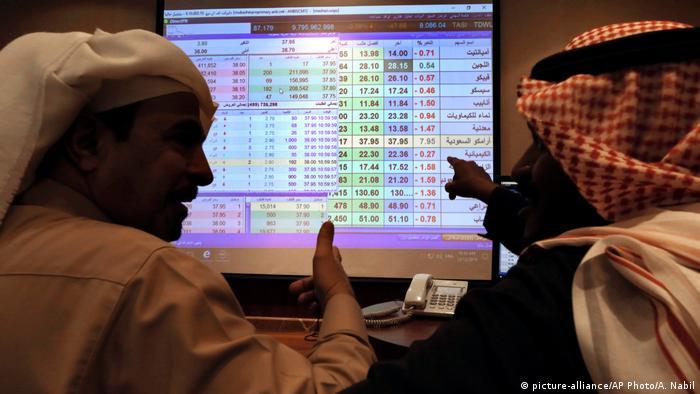 Stock exchange traders on the Saudi stock exchange