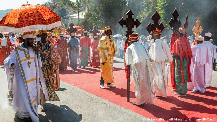 Orthodox priests in Ethiopia process in the yearly Epiphany celebration