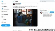 Twitter Screenshot Tweet Greta Thunberg, Klimaaktivistin | Reise Deutsche Bahn