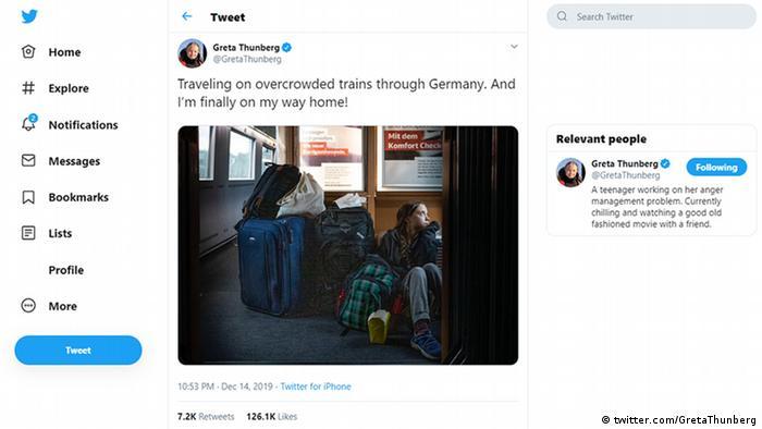 Twitter Screenshot Tweet Greta Thunberg, Klimaaktivistin   Reise Deutsche Bahn