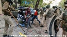 Student protest is happening in Delhi's Jamia Milia university against Citizenship amandment bill. Police also charging them brutally. Photos given by fellow Surender Kumar and student union of Jamia Milia university. They hold the copyright of the photos and they willingly given those to DW.