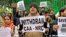Indien, Neu-Delhi: Protestierende Jamia Milia Islamia Studenten