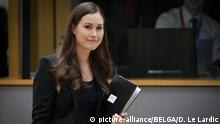 13.12.2019, Belgien, Brüssel: Finland Prime Minister Sanna Marin pictured during the second day of the EU summit meeting, Friday 13 December 2019, at the European Union headquarters in Brussels. This is the first summit since the installation of Belgian EU Council president Michel. BELGA PHOTO POOL/DAINA LE LARDIC Foto: Pool/Daina Le Lardic/BELGA/dpa |
