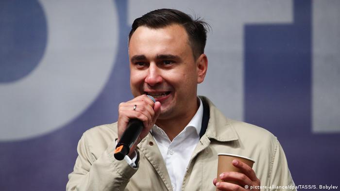 Директор ФБК Иван Жданов на одном из митингов оппозиции в Москве в 2019 году
