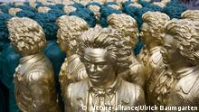 GERMANY, BONN - MAY 14: Our Ludwig, the citizen action for the 250th birthday of Ludwig van Beethoven. 500 times Beethoven on the Bonn Muensterplatz. Art installation by the concept artist Professor Ottmar Hoerl. Beethoven figures are waiting for their installation on the square. | Keine Weitergabe an Wiederverkäufer.