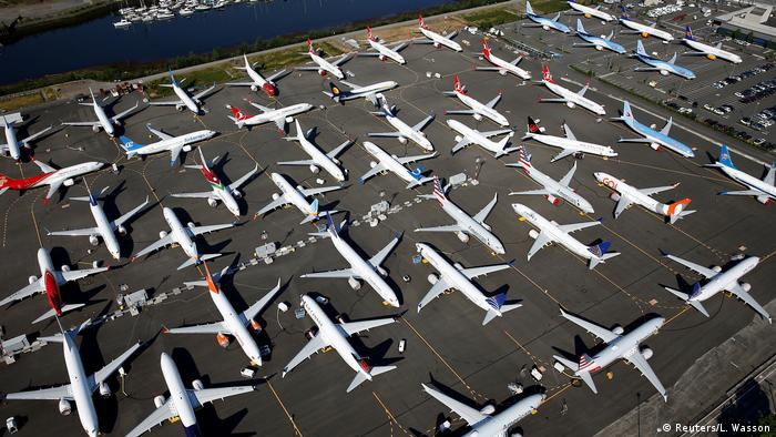 Dozens of grounded Boeing 737 Max aircraft are seen parked in an aerial photo at Boeing Field in Seattle, Washington, U.S. July 1, 2019
