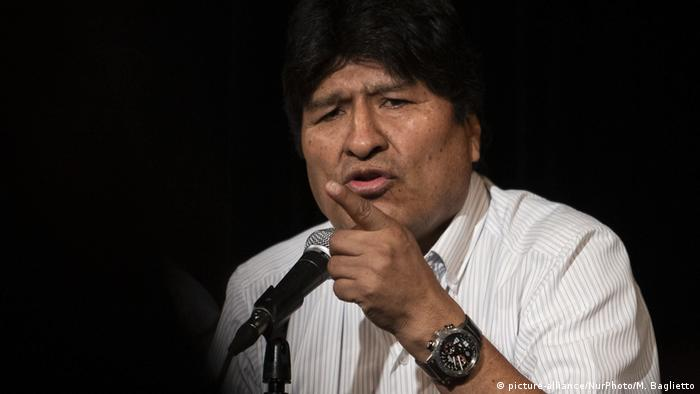 Evo Morales speaks during a press conference in Argentina's capital