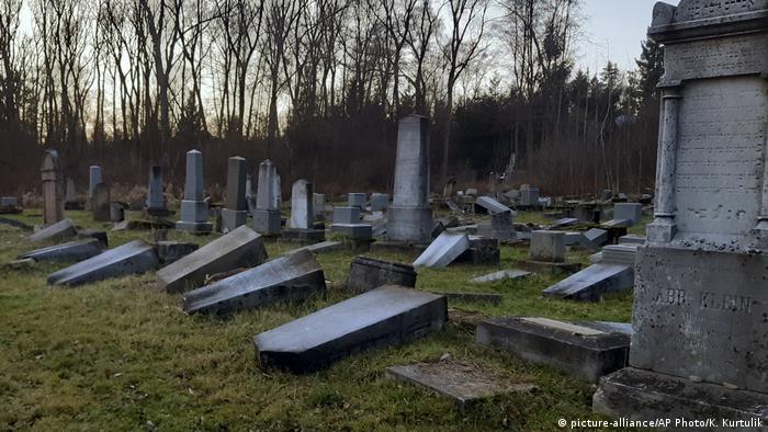 Damaged gravestones at Jewish cemetery in Slovakia