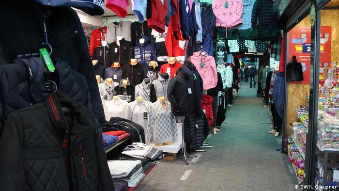 Clothes on offer at the bazaar