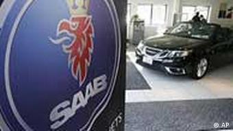 Saab on display in car dealer