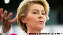 18.12.2019, Frankreich, Straßburg: Ursula von der Leyen (CDU), Präsidentin der Europäischen Kommission, spricht während der Plenarsitzung des Europäischen Parlaments im Plenarsaal. Das Europaparlament tagt in dieser Woche ein letztes Mal im Jahr 2019. Foto: Philipp von Ditfurth/dpa +++ dpa-Bildfunk +++   Verwendung weltweit