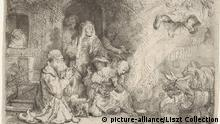 Radierung von Rembrandt | The Angel Leaving the Family of Tobias, 1641 (picture-alliance/Liszt Collection)
