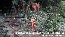 EDS NOTE: NUDITY -In this 2019 handout photo released by Brazil's National Indian Foundation, or FUNAI, Korubos stand on the banks of a river in the Javari Valley, in Brazil. The Brazilian agency for indigenous peoples made a high-risk expedition to the Amazon to reunite an isolated group with relatives and ease tensions with a rival tribe in the region. (Brazil's National Indian Foundation Photo via AP) |