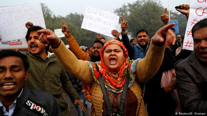 Demonstrators protest against a new citizenship law in Delhi