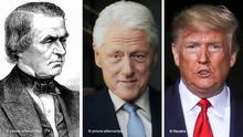 Bildkombo Andrew Johnson, Bill Clinton und Donald Trump. USA Präsidenten Impeachment