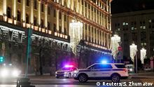 19.12.2019*** Police vehicles block a street near the Federal Security Service (FSB) building after a shooting incident, in Moscow, Russia December 19, 2019. REUTERS/Shamil Zhumatov