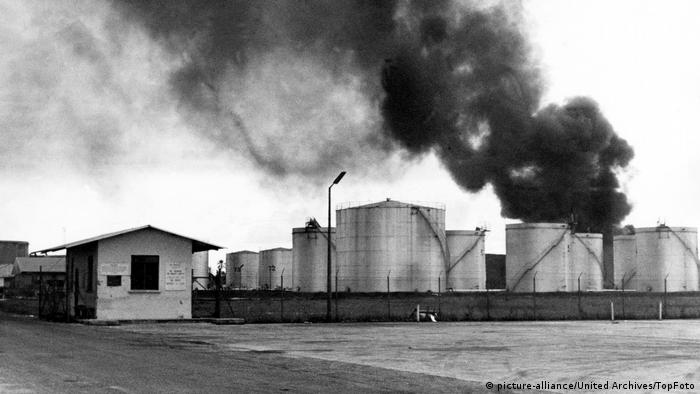 Oil Tanks on fire at the Port Harcourt Refinery in Biafra, after it had been captured by Government forces