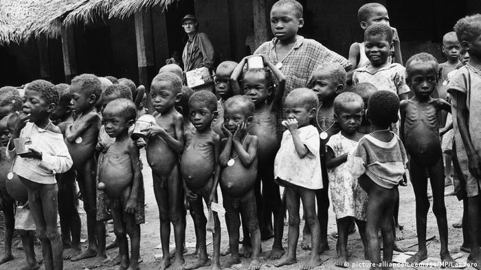 Young victims of the civil war in Nigeriain 1970