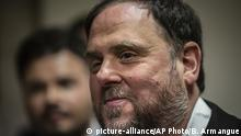 FILE - In this Monday, May 20, 2019 file photo, the leader of the Catalonian ERC party Oriol Junqueras leaves after collecting his credentials at the Spanish parliament in Madrid, Spain. A legal adviser at the EU's highest court said on Tuesday Nov. 12, 2019, that it should be down to the European Parliament, and not to Spain, to decide whether jailed Catalan leader Oriol Junqueras can serve as a European lawmaker. (AP Photo/Bernat Armangue, File) |