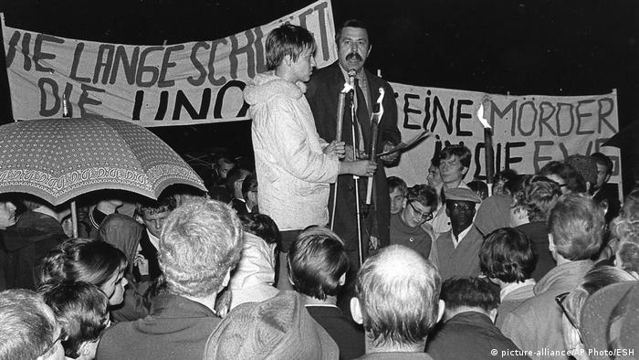 Author Günther Grass speaks at a rally in Hamburg, 1968