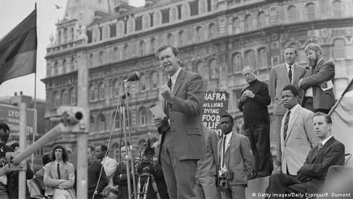 British Labour Party politician Michael Barnes speaking at a rally organised by the 'Biafra Committee', London, UK, 7th July 1968
