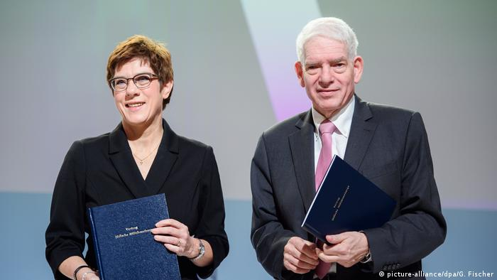 German Defense Minister Annagret Kramp-Karrenbauer and President of the Central Council of Jews Josef Schuster