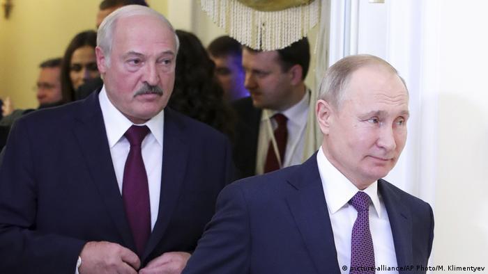 Александр Лукашенко и Владимир Путин - президенты Беларуси и России