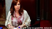 Argentinian Vice-President and Senate president, ex-president (2007-2015) Cristina Fernandez de Kirchner, gestures during a session in which new economic laws proposed by President Alberto Fernandez are discussed in Buenos Aires, on December 20, 2019. (Photo by RONALDO SCHEMIDT / AFP) (Photo by RONALDO SCHEMIDT/AFP via Getty Images)