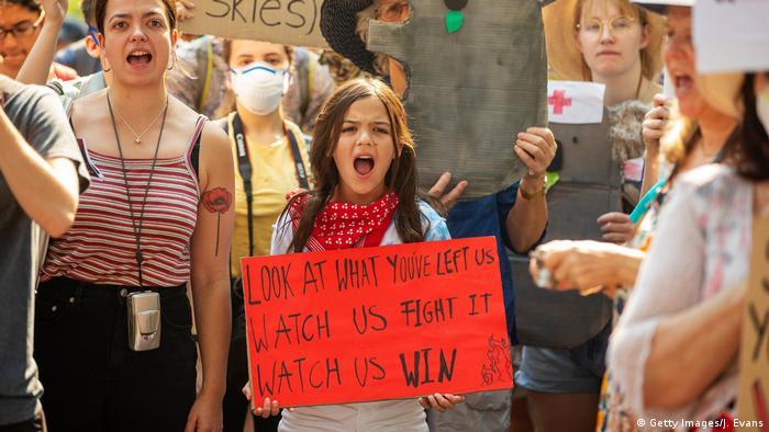 Sydney Protest Kohle Klimaaktivistin Isolde Izzy Raj-Seppings
