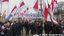 Kundgebung in Minsk gegen Integration mit Russland, 21. Dezember 2019. Fotografin: Alexandra Boguslawskaja, DW-Korrespondentin in Minsk, Belarus.