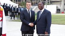 Elfenbeinküste Abidjan | Alassane Ouattara, Präsident & Emmanuel Macron, Präsident Frankreich