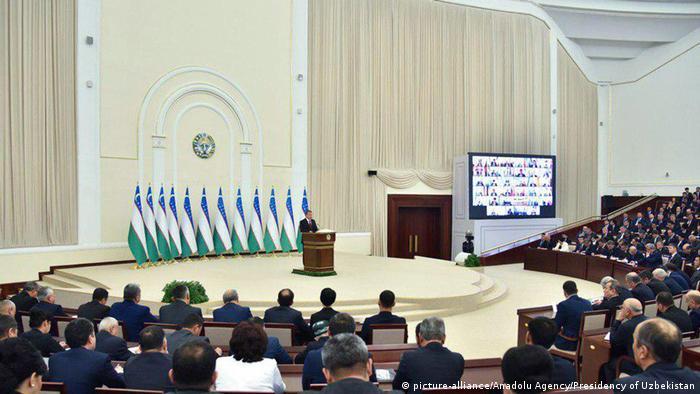 Президент Узбекистану Шавкат Мірзійоєв під час звернення до парламенту у грудні 2018 року