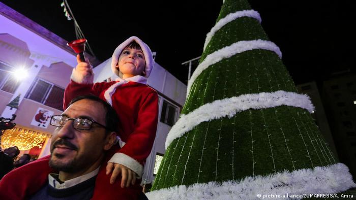 Gaza Christians celebrate a tree lighting ceremony