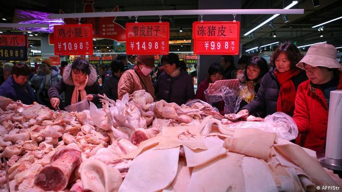 Mercado de carne en China.