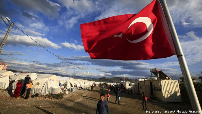A Turkish flag flies at the refugee camp for Syrian refugees in Islahiye, Gaziantep province, southeastern Turkey