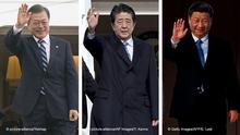 Kombobild | Moon Jae-In, Shinzo Abe, Xi Jinping