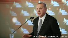 ISTANBUL, TURKEY - DECEMBER 22: Turkish President Recep Tayyip Erdogan makes a speech during an award ceremony at Dolmabahce Palace in Istanbul, Turkey on December 22, 2019. Mustafa Kamaci / Anadolu Agency | Keine Weitergabe an Wiederverkäufer.