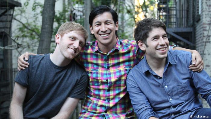 Kickstarter co-founders Charles Adler (L), Perry Chen (C) and Yancey Strickler (R)