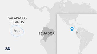 Map showing the Galapagos Islands off the coast of Ecuador