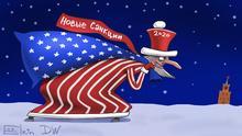 Karikatur von Segey Elkin zu Uncle Sam als Weihnachtsmann geht Richtung Kreml mit einem Sack Neue Sanktionen