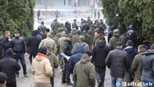 Stadtrat Lviv Auf den Bildern sind die Teilnehmer der Protestaktionen vor dem und im Stadtrat Lviv zu sehen.