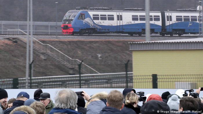 A train crossing the new bridge