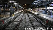 23.12.2019 *** TOPSHOT - A picture taken on December 23, 2019 shows railway tracks at the Gare de l'Est train station in Paris, on the 19th day of a nationwide multi-sector strike against the government's pensions overhaul. (Photo by STEPHANE DE SAKUTIN / AFP) (Photo by STEPHANE DE SAKUTIN/AFP via Getty Images)