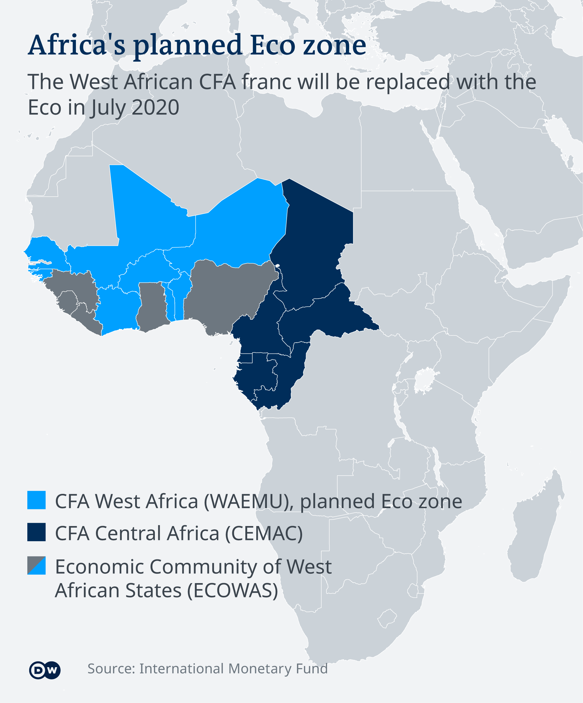 DW Infographic: CFA currency use and ECOWAS countries
