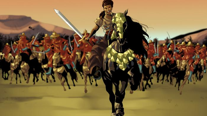Picture of Queen Amina of Zazzau charging into the foreground, an army following on her heels